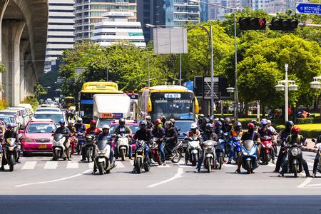 Bangkok, Thailand September 12, 2017: Traffic in Bangkok while traffic lights red Editorial