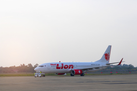 Ubon Ratchathani, Thailand, 18 MAR 2018: Boeing 737-800 of Thai Lion Air (a low-cost carrier based ) as seen taking off at Ubon Ratchathani airport.