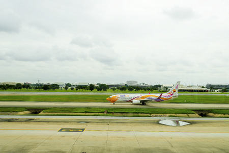 Bangkok, Thailand - August 19, 2018 : Airbus 320 Nokair, Thailand low-cost airline arrived at Don Mueang International Airport Editorial