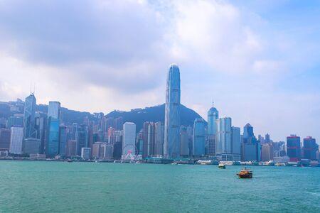 Hong Kong - November 24, 2018: Victoria Harbour in Hong kong,Tsim Sha Tsui, Hong Kong, Landmark city view in Hong Kong. Looks from Kowloon to Hong Kong Island.