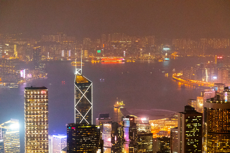 Hong Kong skyline at night view from Victoria peak. Stock Photo - 115242830