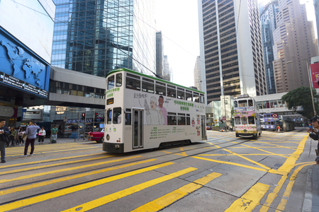 Causeway Bay, Hong Kong - 23 November 2018: Double-decker tram Trams are also a major tourist attraction and one of the best eco-friendly travel destinations in Hong Kong.