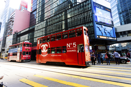 Causeway Bay, Hong Kong - 23 November 2018: Double-decker tram Trams are also a major tourist attraction and one of the best eco-friendly travel destinations in Hong Kong. Redactioneel