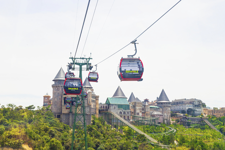 Danang, Vietnam - June 24, 2019: View of Ba Na Hills Mountain Resort with The longest  cable car in Ba Na Hills, Da Nang City, Vietnam Editorial