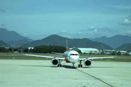 DANANG, VIETNAM - JUNE 26, 2019 : Airbus 320 airasia, Thailand low-cost airline. At danang international airport.