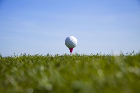 Golf ball tee up Stock Photo - 7309672