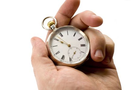 Pocket watch in hand isolated