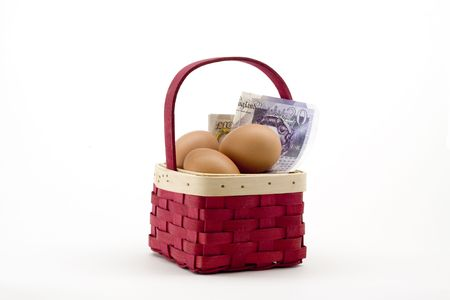 inflation basket: Don&iuml,&iquest,&frac12,t put all your eggs in one basket isolated