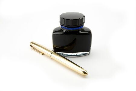 Ink well and gold pen