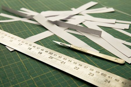 Scalpel, ruler and bits of paper