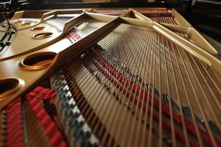 wire pin: Keys inside a grand piano Stock Photo