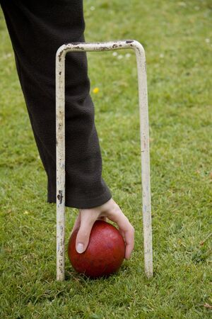 Croquet ball and hoop Stock Photo