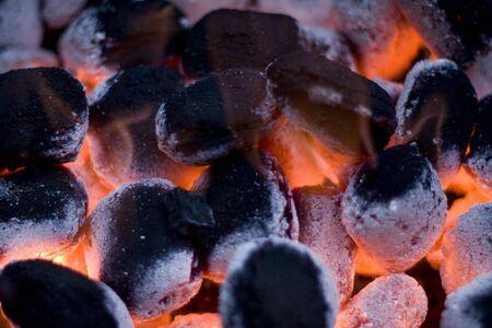 Red hot burning coals