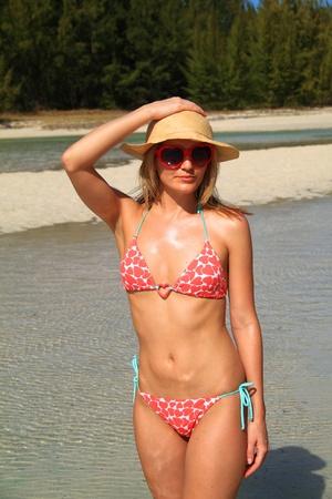 Blonde in a bikini on honeymoon