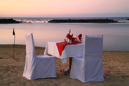 Romantic beach dinner  photo