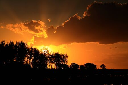 Beautiful sunset with sun rays