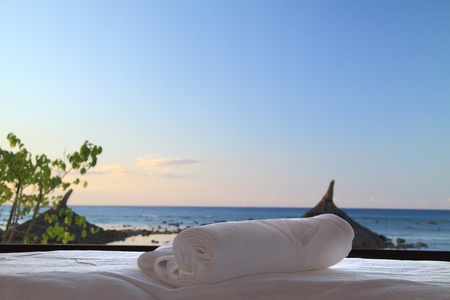 Beach spa and massage  Stock Photo