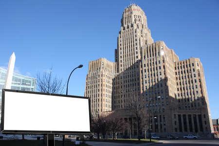 Modern city advertising light billboard in Milwaukee