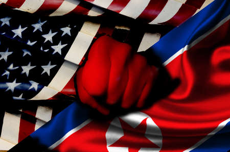 Tension between USA and NORTH KOREA Stock Photo