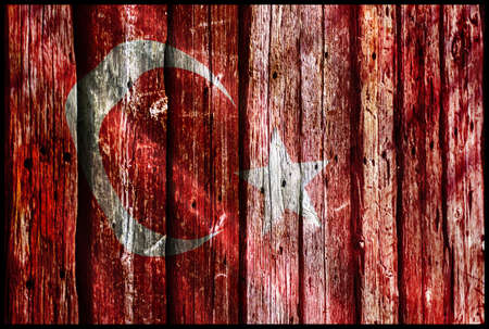 human settlement: Turkey Flag on wooden texture
