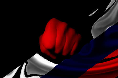 Russia flag punch Stock Photo