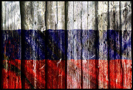 Russia flag on the wooden wall