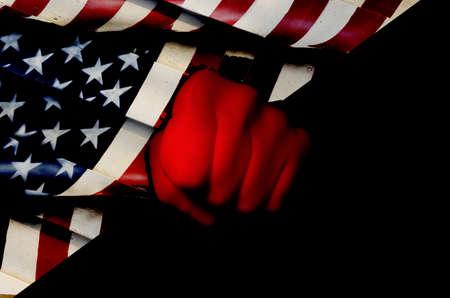 Usa flag and fist Stock Photo