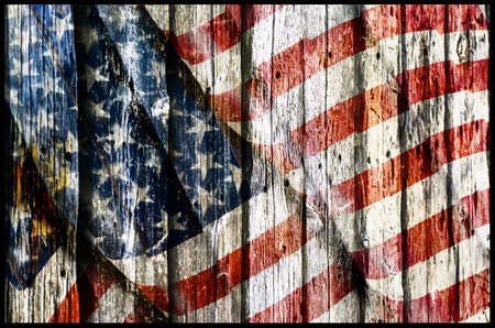 USA Flag on the wooden wall Stock Photo