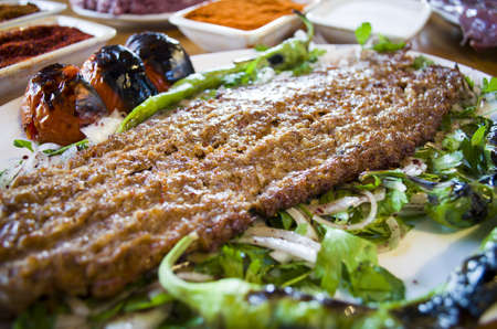 grill: Traditional Turkish Adana Kebab and spices