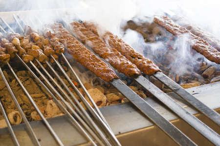 Barbecued kebab and shish kebab