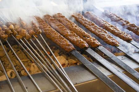 Geroosterde kebab en shish kebab Stockfoto