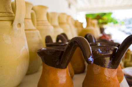 Beautiful handmade clay pots with arts Stock Photo