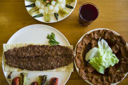turkish food table; kebab
