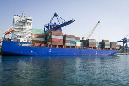 large container vessel unloaded in port of istanbul haydarpasa Stock Photo
