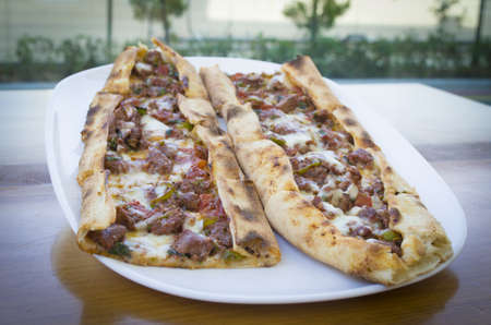 turkish traditional pita pide cheese and meat