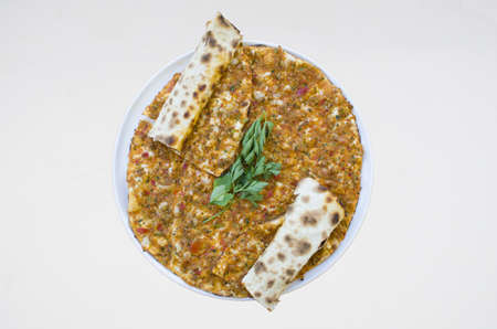 turkish specialty pizza lahmacun pide with white background isoleted
