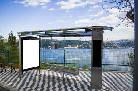 bus stop bus stop advertising, billboard in a very perfect view and bosphorus river