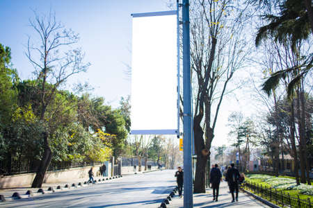 large flag blank billboard on a street banners with room to add your own text