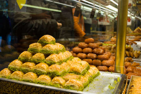 baklava pastry dessert; traditional turkish dessert sold on the market