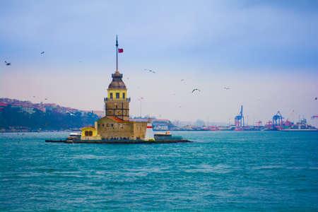 maiden's tower, kiz kulesi at bosphorus istanbul one of the symbols of istanbul 写真素材