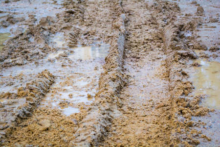 wheel tracks on rough road