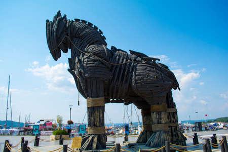 Wooden Trojan Horse in canakkale Turkey. Truva Horse
