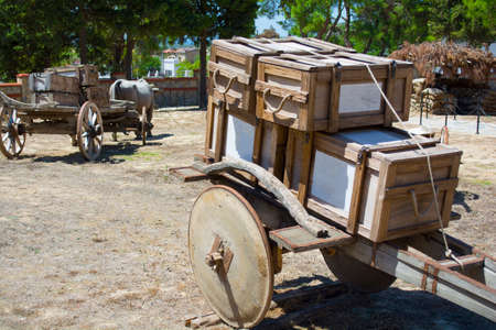 Wheel of an old covered wagon. Ottoman tumbrel cart.