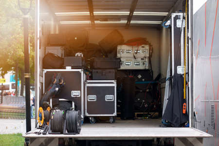 stage equipment for a concert in van