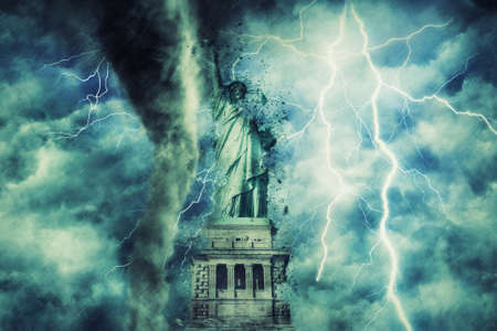 statue of liberty during the heavy storm, rain and lighting in New York, creative picture 写真素材