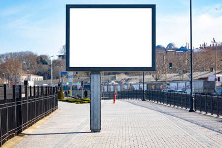 Blank white mockup of billboard in empty Istanbul street Stockfoto