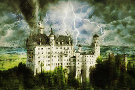 Neuschwanstein castle during the heavy storm, rain and lighting in Germany. Creative picture. Standard-Bild