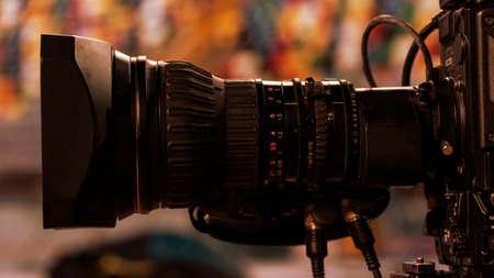 Professional digital video camera. accessories for 4k video cameras. tv camera in a stadium Stock Photo