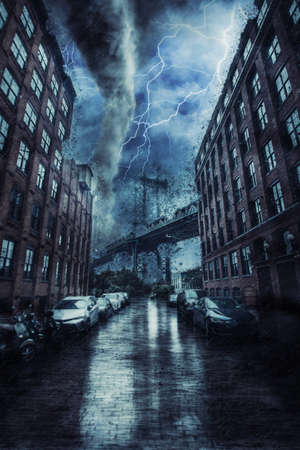 Manhattan Bridge in New york street during the heavy tornado storm, rain and lighting in New York, creative picture.