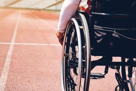 wheelchair sportsmen on track. wheelchair sportsmen is ready.